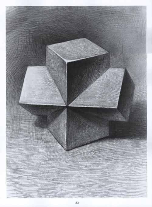 老师示范单个结构素描几何形体,学生能够掌握并准确画出立体效果