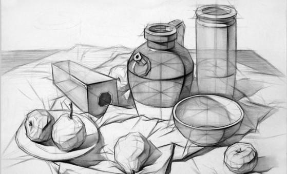 素描静物组合:   通过之前单个结构静物的学习,在组合体的绘画过程中